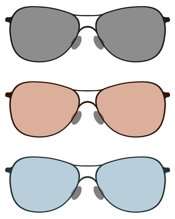 三种不同颜色的太阳镜眼镜图片免抠素材
