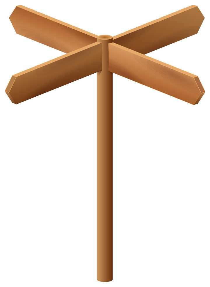 四个方向的木质指路牌指示牌图片免抠矢量素材