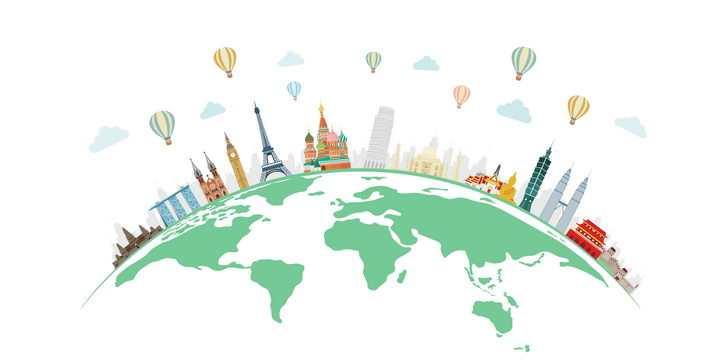 地球上的世界知名旅游景点建筑图片免抠矢量图素材