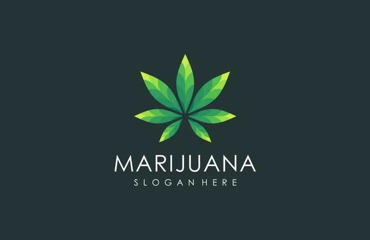 7片绿色树叶组成的logo设计方案图片免抠矢量素材
