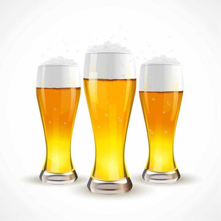 三杯冒着泡沫的啤酒美味饮料图片免抠素材