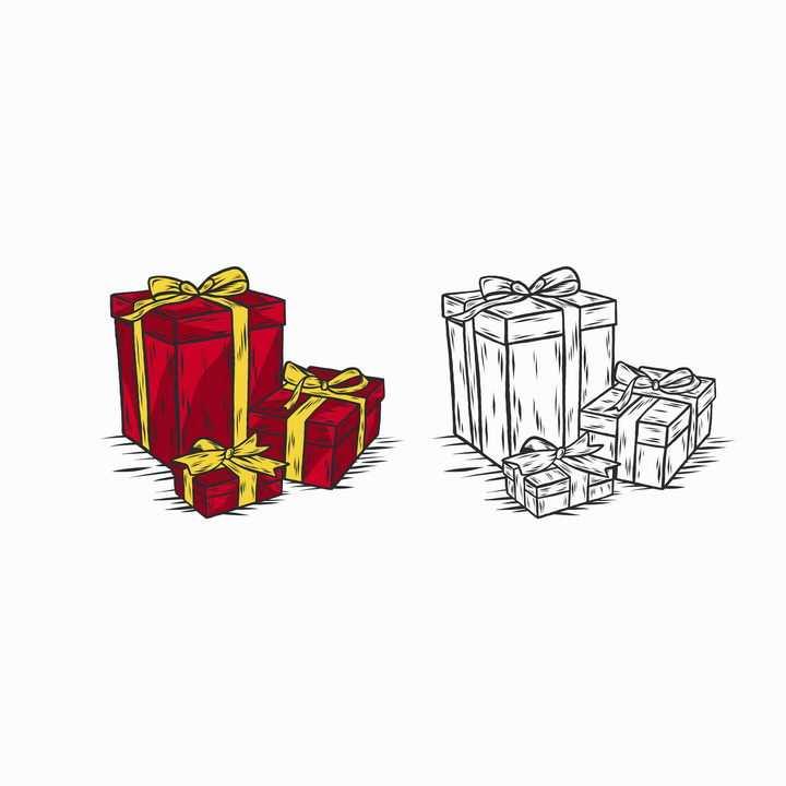 手绘彩色与黑白风格礼物盒礼品盒图片免抠矢量图素材