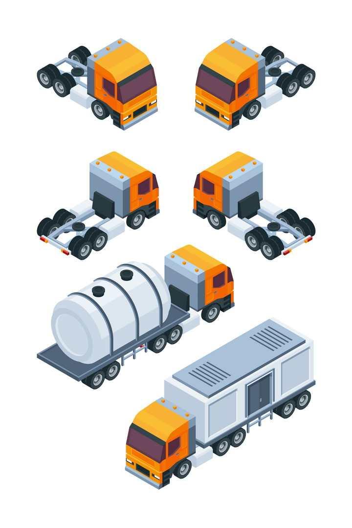 2.5D风格的橙色半挂式卡车汽车图片免抠矢量素材