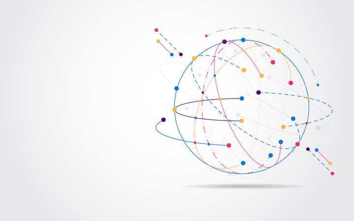 创意彩色点线组成的圆球抽象地球和外面的虚线轨迹图片免抠矢量素材