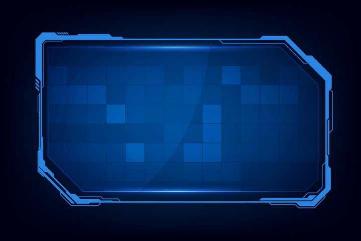 蓝色科幻风格文本框边框图片免抠矢量素材