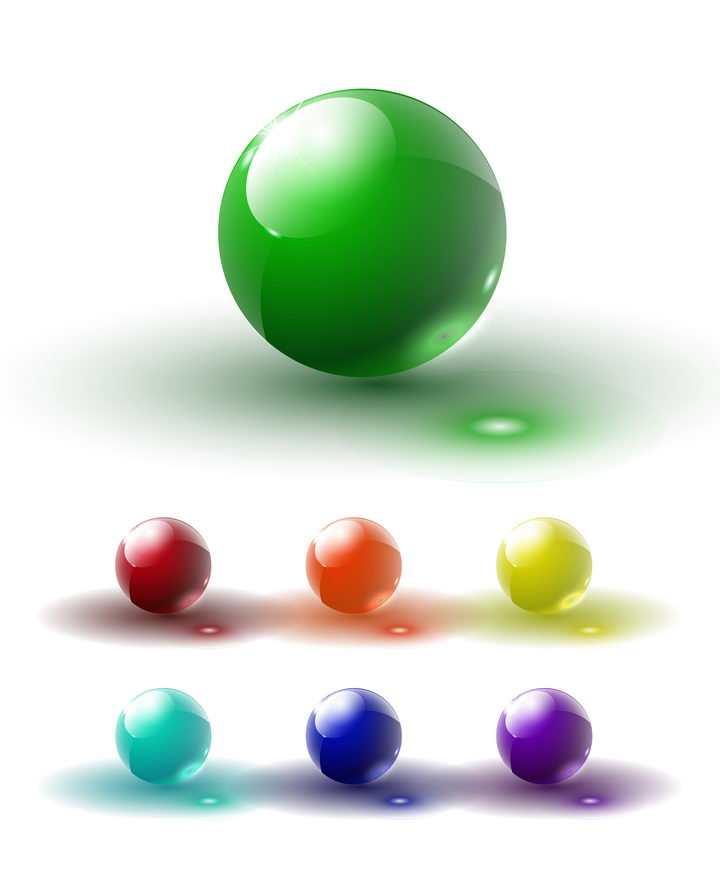 7款透光的彩色玻璃球图片免抠矢量素材