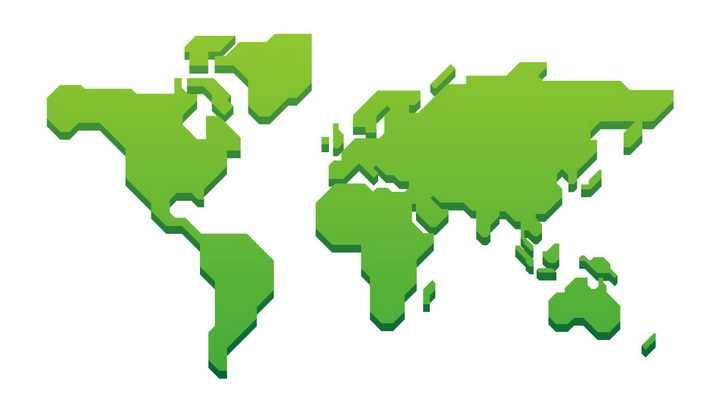 绿色简约世界地图带阴影图片免抠矢量素材