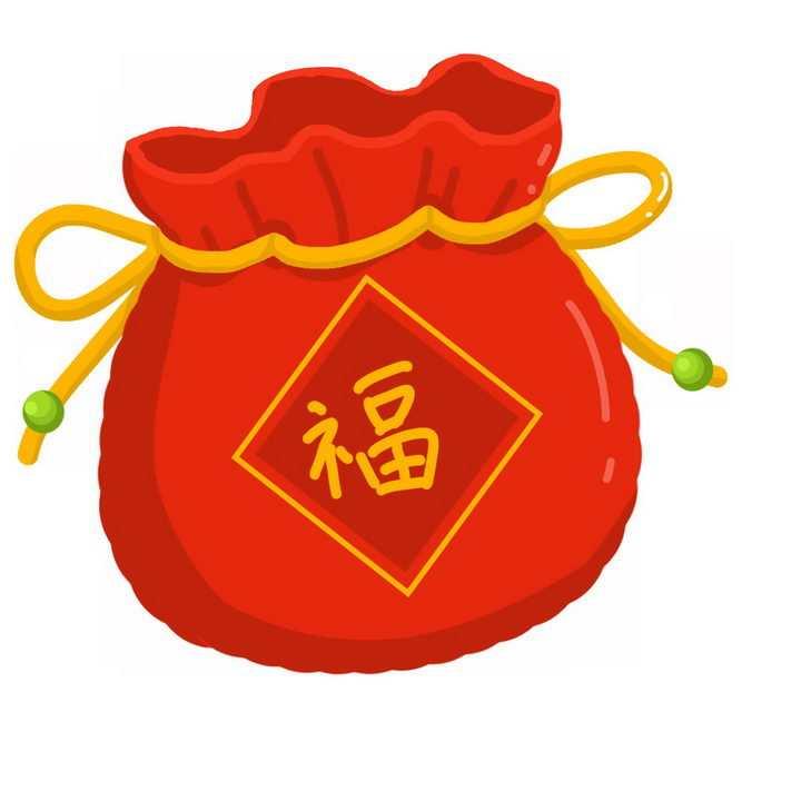 卡通风格新年春节过年福袋图片免抠png素材