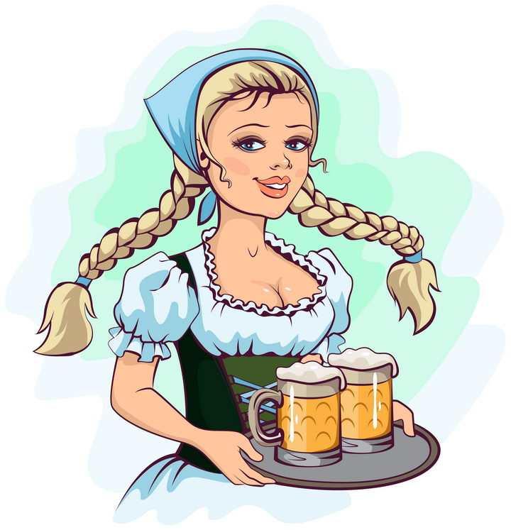 手绘插画风格捧着啤酒的金发美女啤酒节配图图片免抠矢量素材
