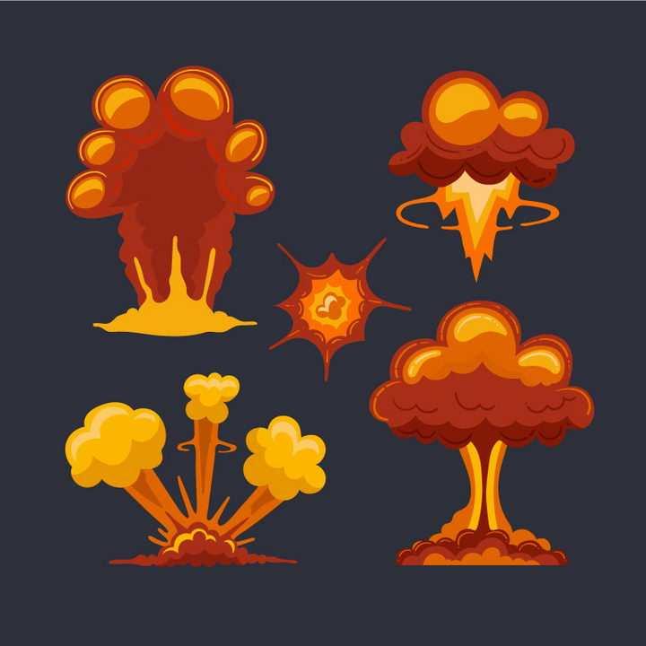 红色漫画爆炸效果蘑菇云图片免抠素材