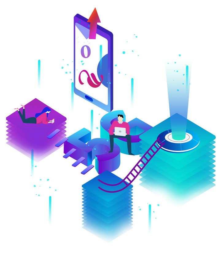 立体插画风格在5G通信技术加持下手机的使用图片免抠png素材