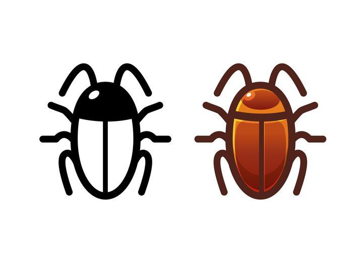 黑色线条蟑螂昆虫和上色的蟑螂害虫图标图片免抠矢量素材 生物自然-第1张