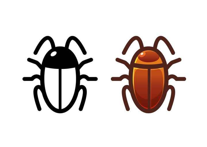 黑色线条蟑螂昆虫和上色的蟑螂害虫图标图片免抠矢量素材
