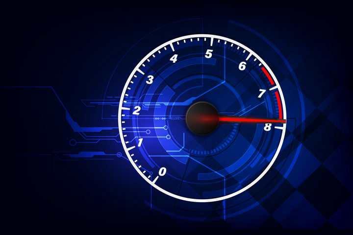 简约蓝色和白色发光效果的速度表图片免抠矢量素材