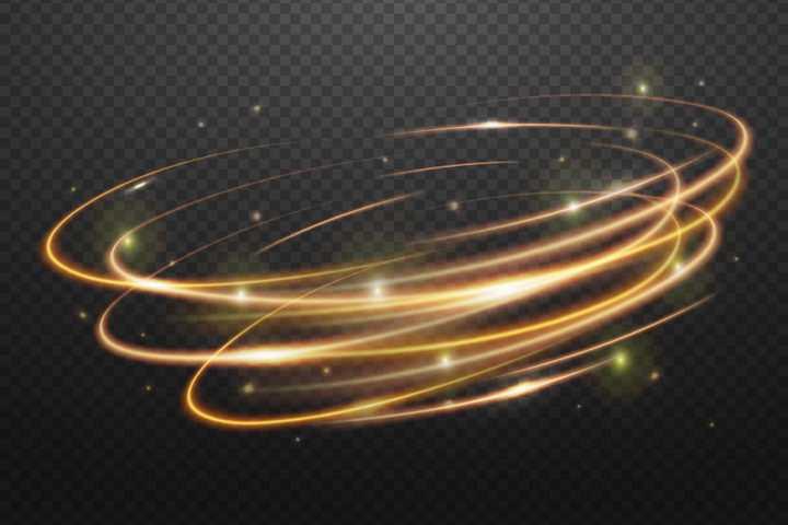快速旋转的金色动感炫彩光线效果图片免抠矢量图素材