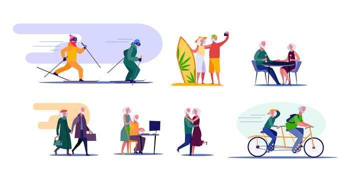 扁平插画风格滑雪冲浪自行车老年人的晚年活动图片免抠矢量素材