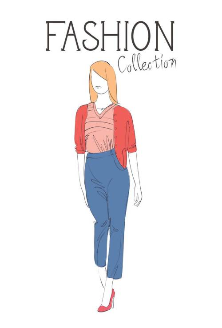 彩色上色手绘风格时尚红色外套牛仔裤女装时装设计草图图片免抠矢量素材