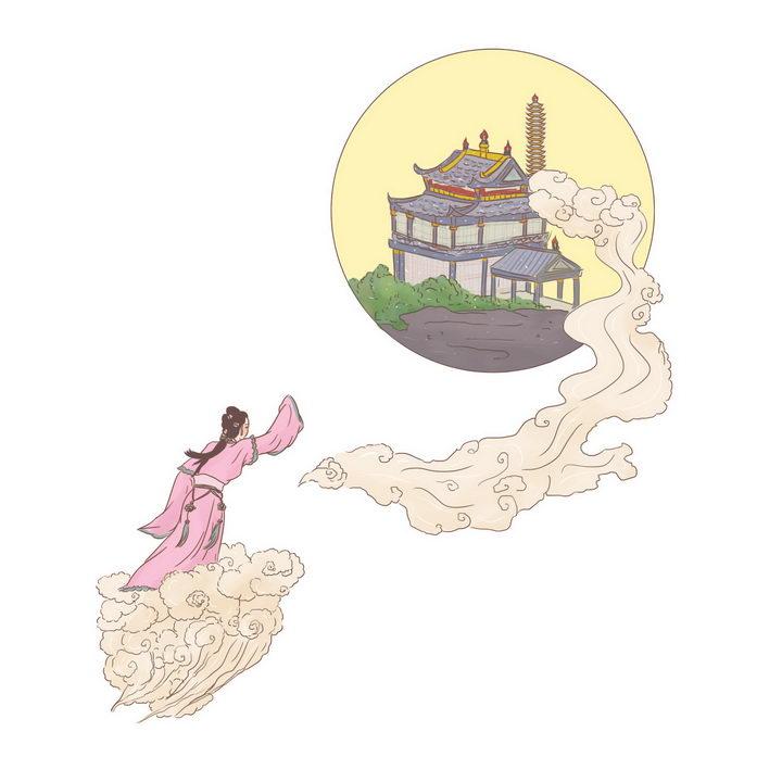 嫦娥奔月中国传统神话人物传说故事手绘彩色插图图片免抠png素材 教育文化-第1张