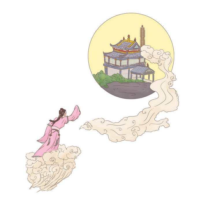嫦娥奔月中国传统神话人物传说故事手绘彩色插图图片免抠png素材