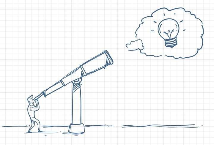 圆珠笔画涂鸦风格通过望远镜看到象征创意的电灯泡职场人际交往配图图片免抠矢量素材