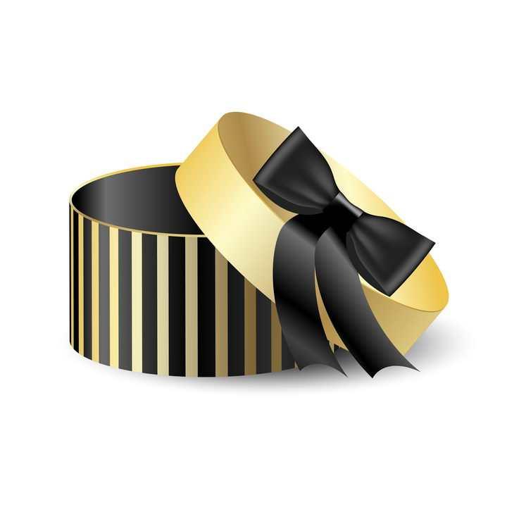金色黑色条纹状圆形礼品盒图片免抠矢量素材