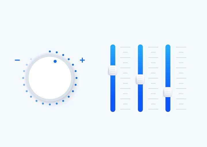 渐变简约风格APP旋钮和调节按钮免抠矢量图素材