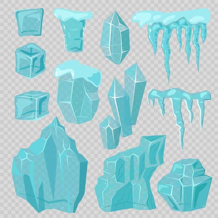 各种淡蓝色的冰块冰凌冰山图片免抠矢量素材