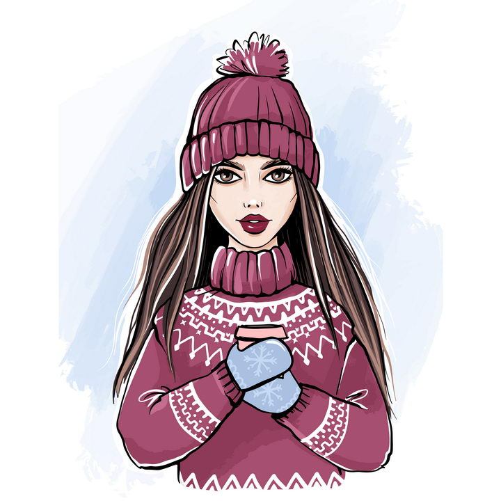 冬天里手绘漫画戴着毛线帽子穿着毛线衣手拿咖啡杯的女孩图片免抠矢量素材