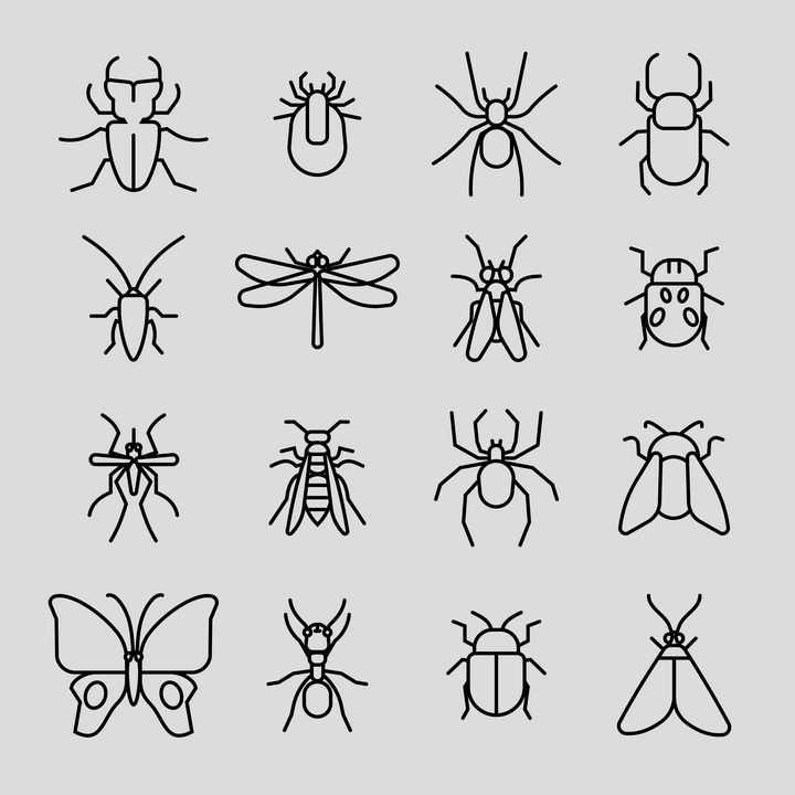 16款黑色线条蟑螂蜘蛛蚊子苍蝇蛾子等害虫图标图片免抠矢量素材