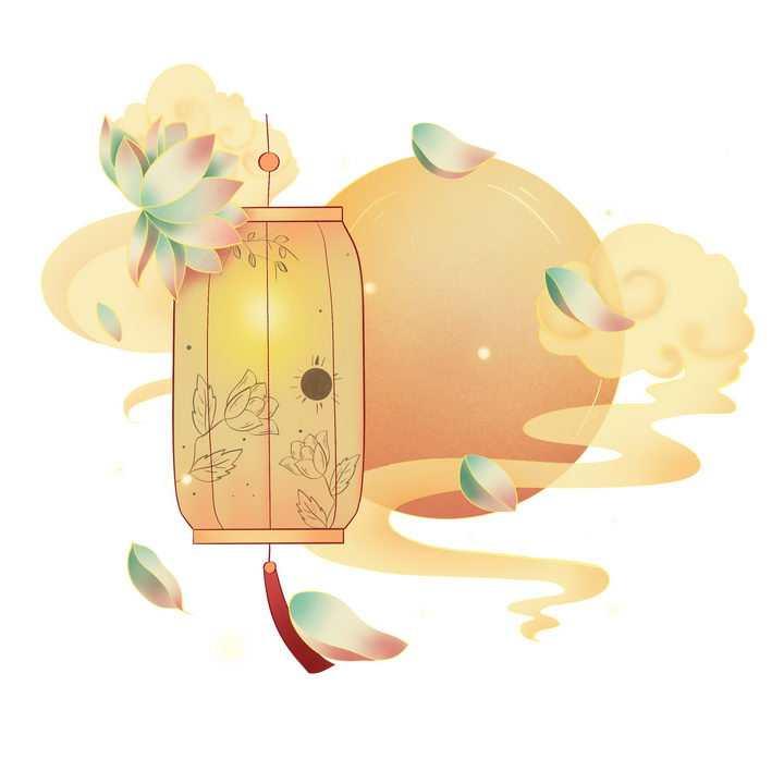 中国风黄色的月亮祥云和灯笼图片免抠png素材