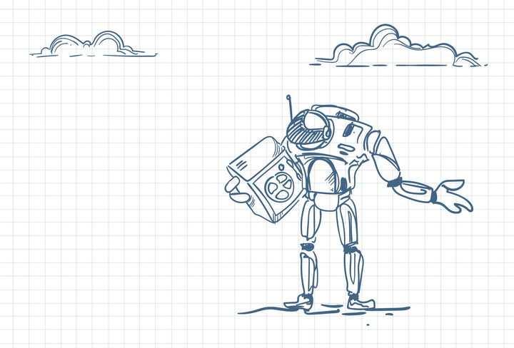 圆珠笔画涂鸦风格抱着保险柜的机器人职场人际交往配图图片免抠矢量素材