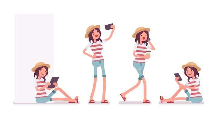 4款正在玩手机的条纹T恤卡通女孩图片免抠矢量素材