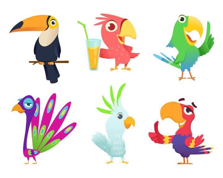 6种可爱的卡通小鸟图片免抠矢量素材