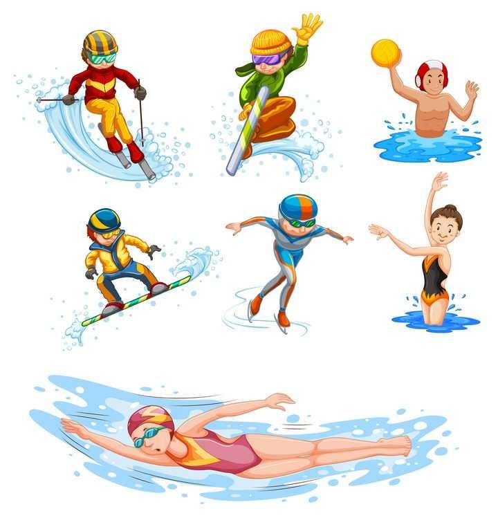 冲浪滑雪游泳等卡通运动员图片免抠矢量素材