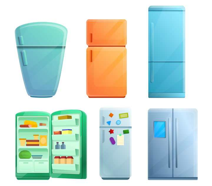 6款卡通漫画风格的电冰箱家用电器图片免抠矢量素材