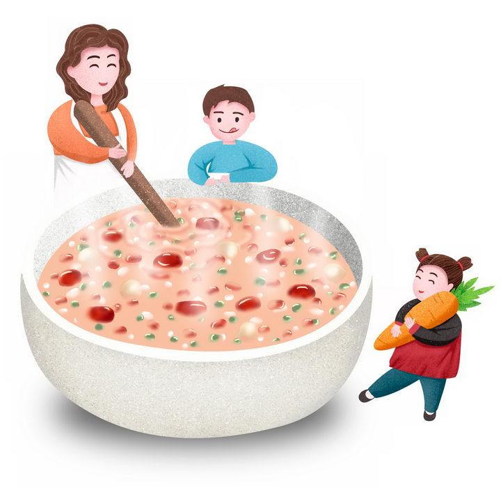 卡通彩绘正在做腊八粥八宝粥养生粥腊八节传统美食的妈妈和孩子图片免抠png素材 生活素材-第1张