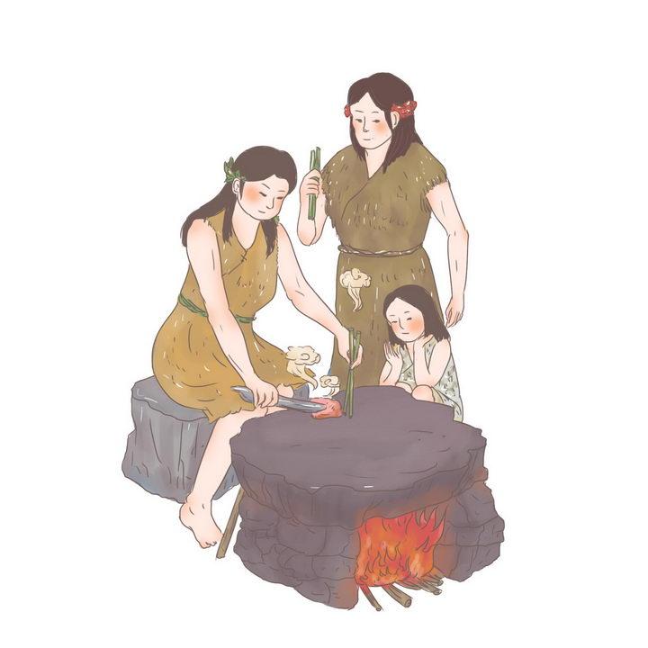 彤鱼石烹中国传统神话人物传说故事手绘彩色插图图片免抠png素材 教育文化-第1张
