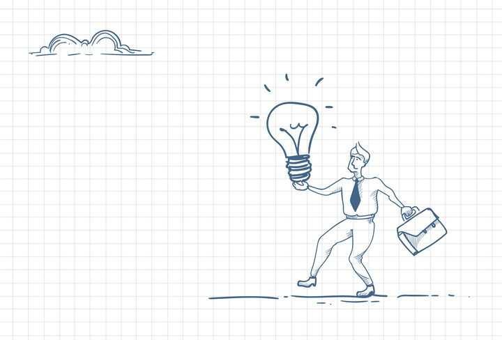 圆珠笔画涂鸦风格带着象征点子的电灯泡向前走职场人际交往配图图片免抠矢量素材