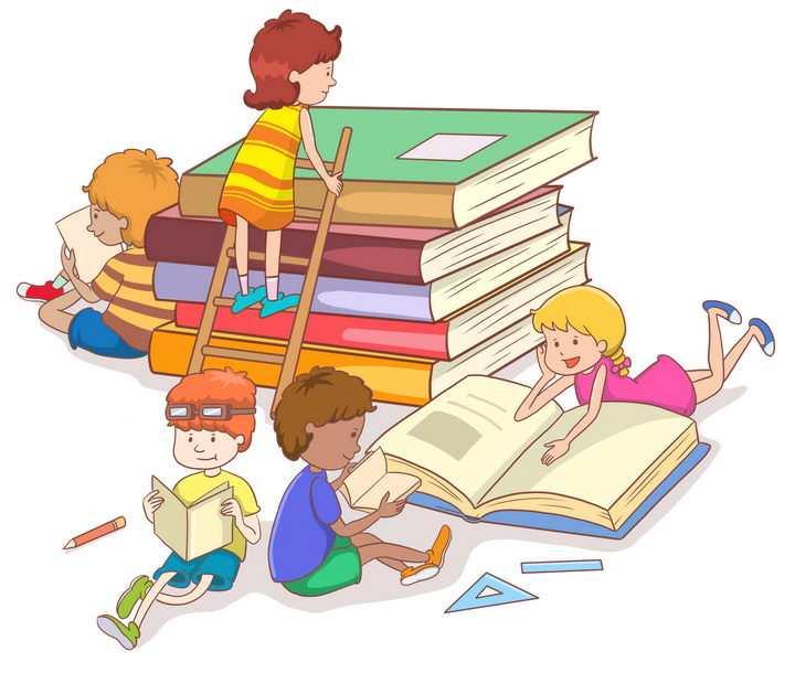 在书山书海中读书的卡通孩子图片免抠png素材
