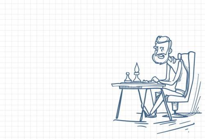 圆珠笔画涂鸦风格正在下棋的人职场人际交往配图图片免抠矢量素材