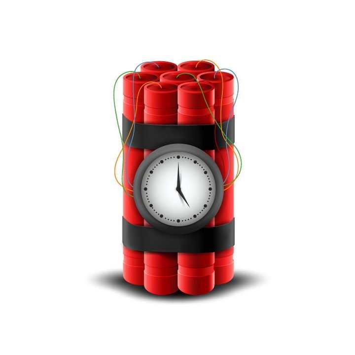 逼真的带倒计时器的红色定时炸弹图片免抠素材