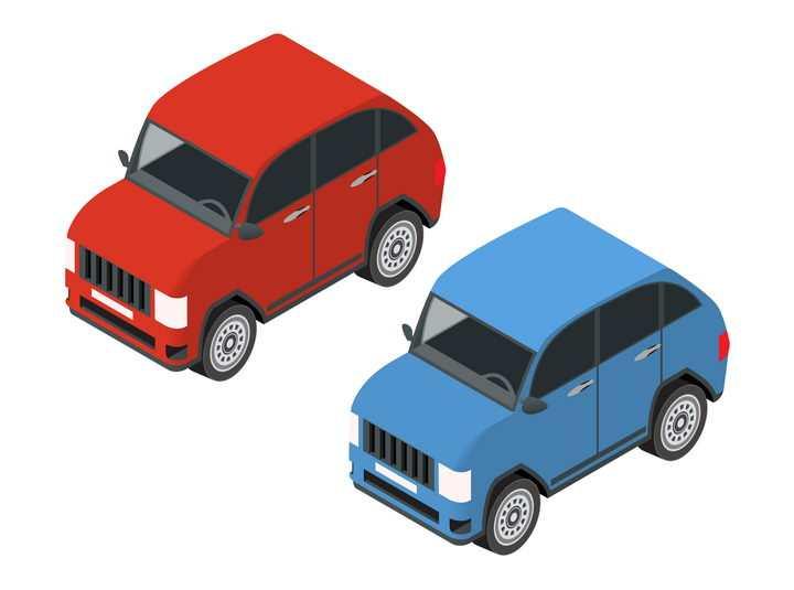 红色和蓝色卡通小汽车图片免抠素材