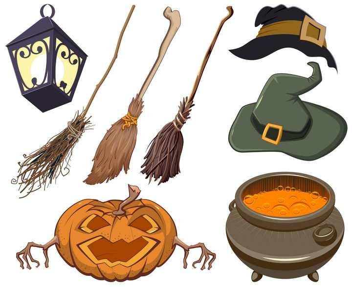扫帚南瓜灯等各种万圣节魔法师道具图片免抠矢量素材