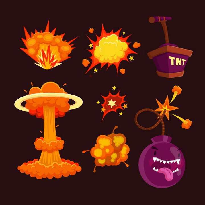 带表情的TNT炸弹和卡通漫画蘑菇云爆炸效果图片免抠素材