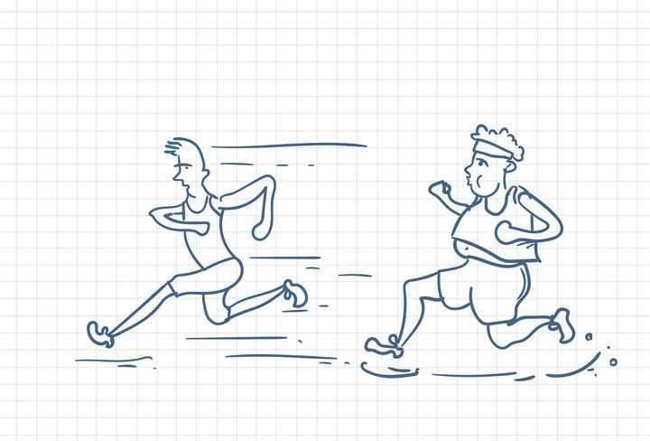 圆珠笔画涂鸦风格跑得很慢的胖子职场人际交往配图图片免抠矢量素材