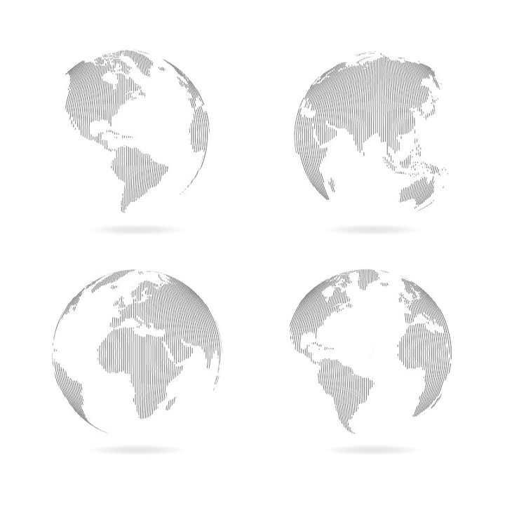 4个不同角度的线条手绘的世界地图地球图案图片免抠矢量素材