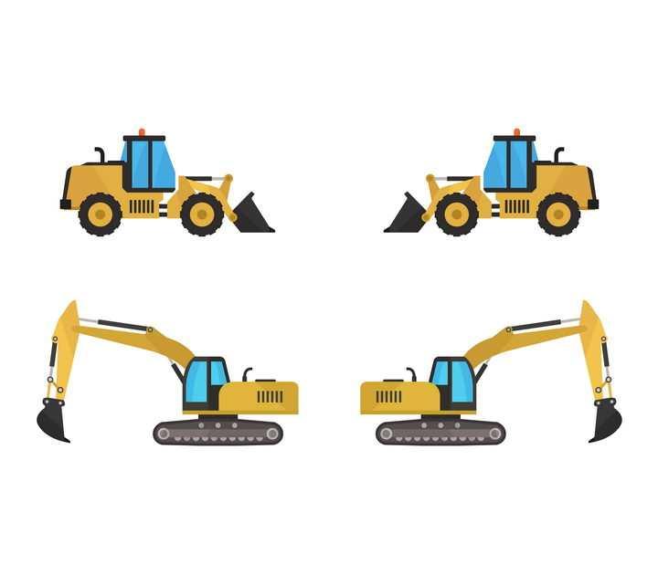 扁平化风格挖掘机推土机等工程机械免抠矢量图素材