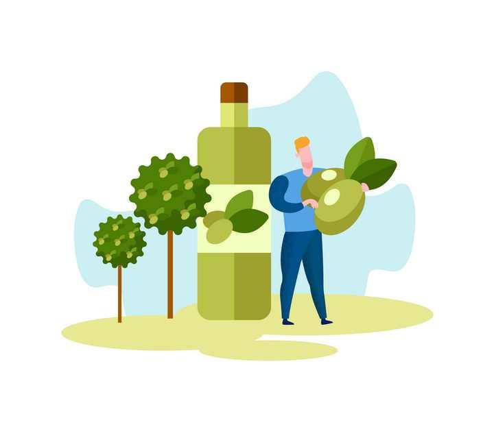 扁平化风格卡通橄榄油制造的工人插画配图图片免抠素材
