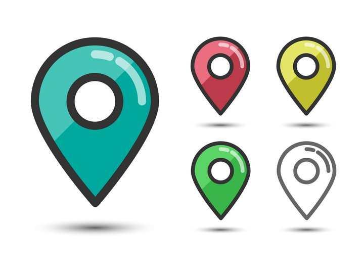 5种颜色的MBE风格定位标志图标图片免抠矢量素材