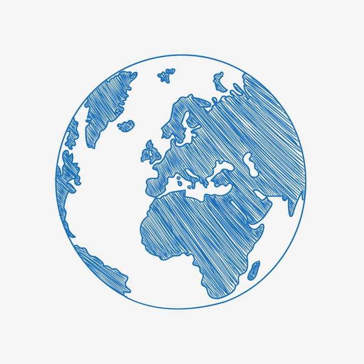 蓝色涂鸦风格地球世界地图儿童画图片免抠矢量素材